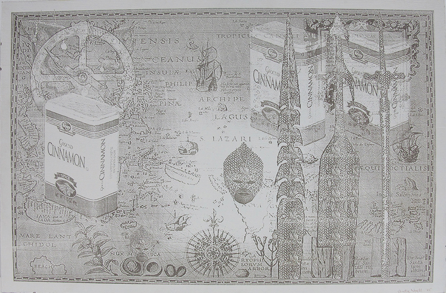 "Magellan's Journey West, Laser engraving, 11.8"" x 23¼"""