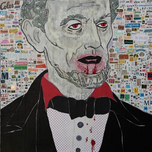 """Marcus Kenney, Blood Suckin Vampire, 2010, Mixed media on canvas, 24"""" x 24"""""""