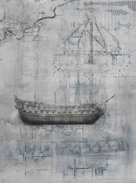 "Systems of Navigation, Laser engraving, stains, ink on gessoed Masonite, 23½"" x 17½"""