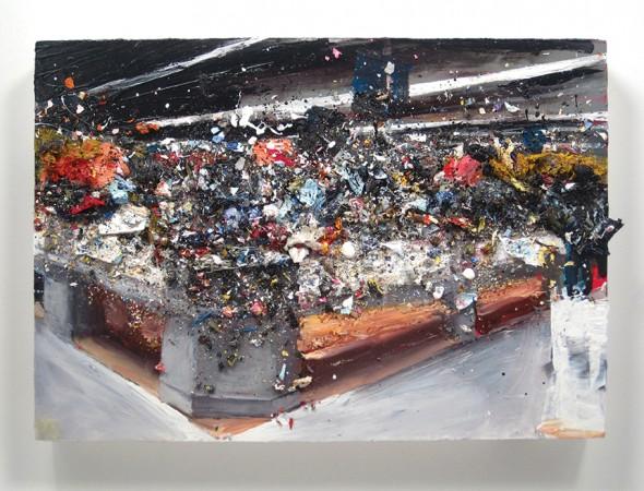 "Walmart Study 6, 2012, Oil and acrylic resin on panel, 8"" x 11½"""