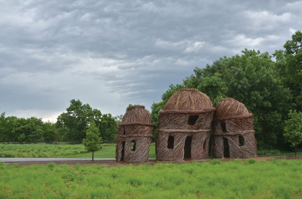 Patrick Dougherty, Three of a Kind, 2013.  Private Sculpture Garden, Lincoln, Nebraska.  Photograph: Roger Bruhn