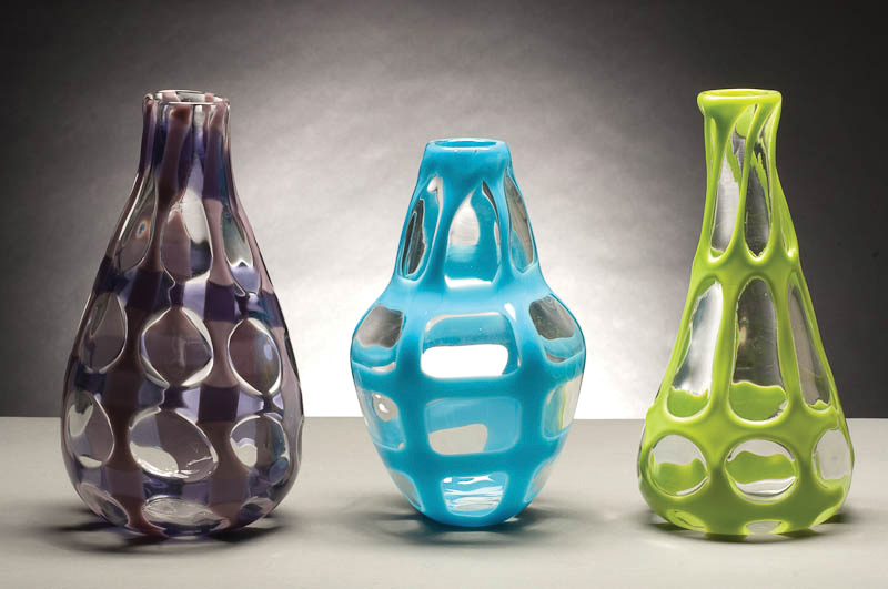 "Genie Bottle Trio, 2009, Glass, Tallest 6"" x 6"" x 12"""