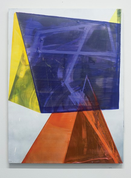 "Andrew Holmquist, Modernist Sculpture, 2013, Oil and spray paint on panel, 31"" x 23"""