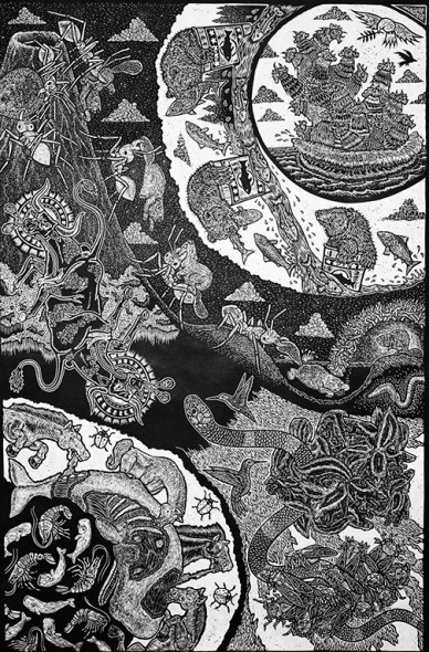 "Jesse Shaw, American Animals I, 2010, Linocut, 36"" X 24"""