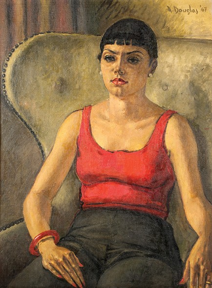 "Aaron Douglas, Seated Woman Musician, 1940-1960, Gouache, 19"" x 15"""