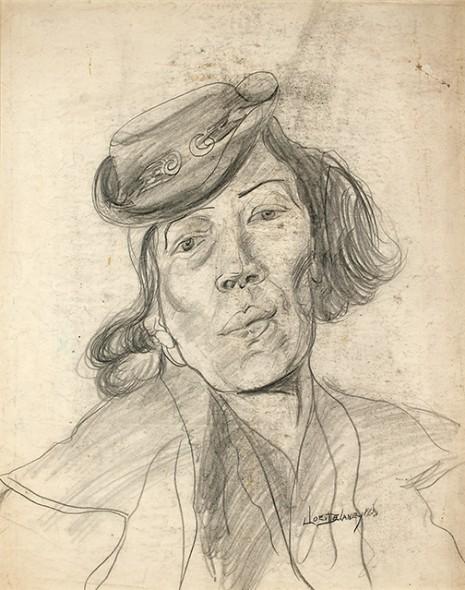 "Joseph Delaney, Woman in Hat (Artist's Mother), 1938, Graphite on paper, 25"" x 19"""