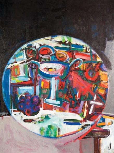 """David Driskell, Round Still Life, 1965, Oil on canvas, 40.25"""" x 30"""""""