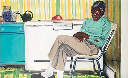 "James R. Threalkill, Grandpa's Nap, 1995, Oil on canvas, 30"" x 48"""