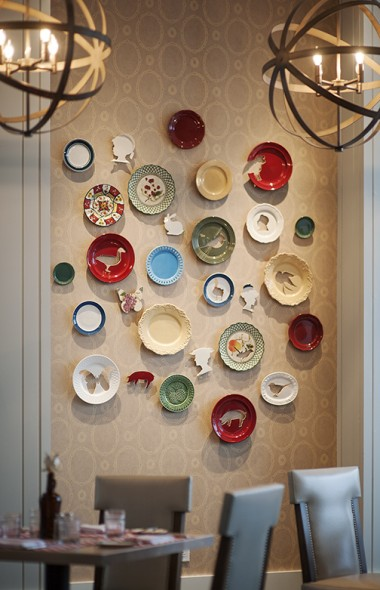 Carved Plate Wall Installation, 2013, Water Jet Cut Antique Plates, Varying Dimensions