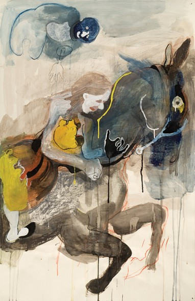 "Untitled (Yellow Bear), Pastel, ink, and acrylic on paper, 40"" x 26"""