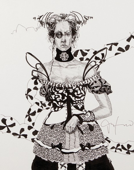 """Youngest Daughters and Heiresses of Humbert III of Savoy, 2012, Ink and acrylic, 5"""" x 13.5"""""""