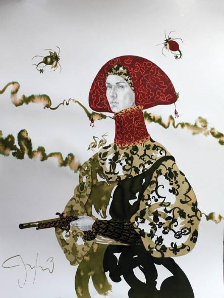 """Les Petites Femmes et le Pistolet à Percussion II, 2013, Ink, acrylic, and graphite, 36"""" x 24"""""""