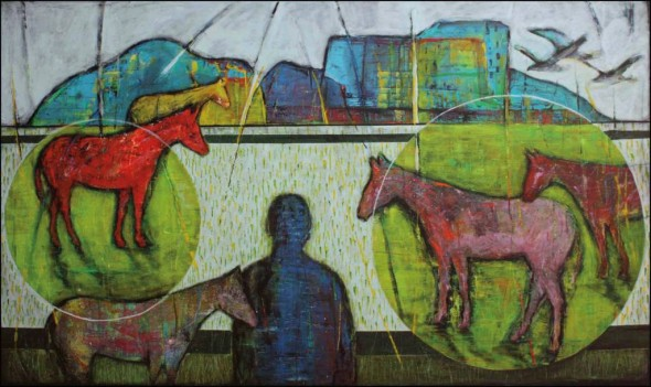 "Marleen De Waele-De Bock, The Horse Whisperer, 2013, Acrylic on canvas, 36"" x 60"""