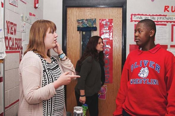 Kelly Walker mentors a student