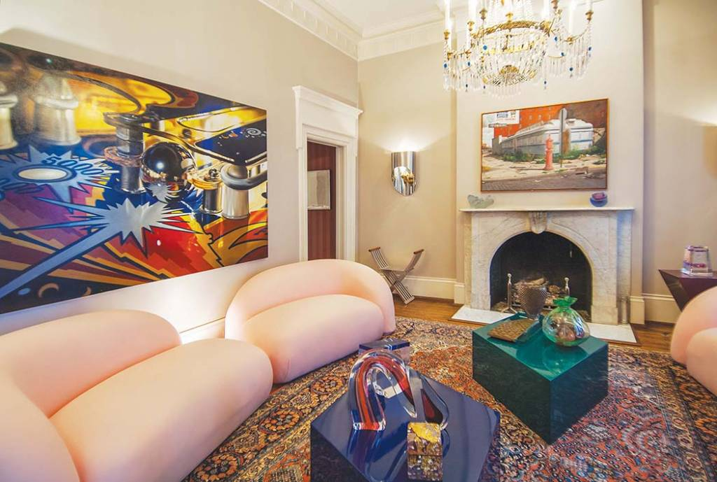 Living Room: Charles Bell, Pinball, Oil on canvas; John Baeder, Seaport Diner, NY, Oil on canvas
