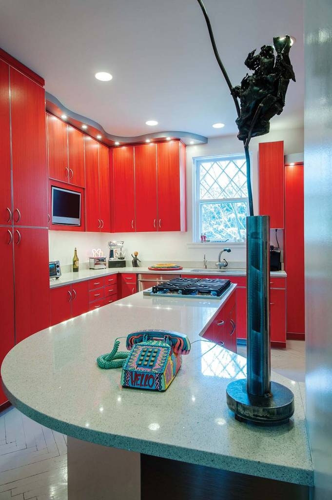 Kitchen: Design by Rusty Wolfe – constructed by Wolfe Woodworking, Steel sculpture by David Anderson, Telephone painted by Knox Hall