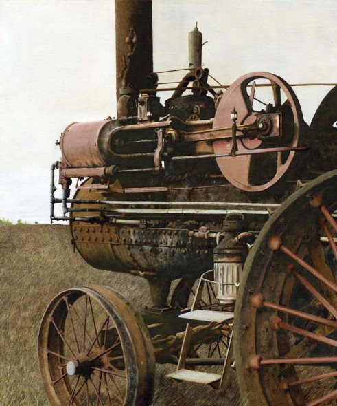 """Steam Engine, Transparent watercolor on paper, 22"""" x 19"""""""