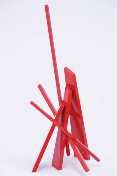 "John Henry | Traveler | 2008 | Painted red steel | 21"" x 15"" x 9.5"""