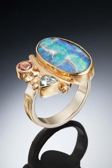 Marilyn Greenwood Opal, Sapphire _ Aqua Ring