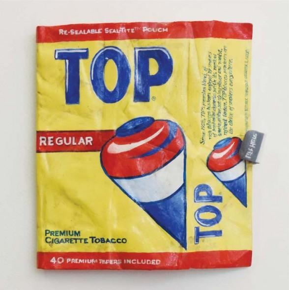 """Tom Pfannerstill, Top Tobacco, 2014, Acrylic and enamel on wood, 6"""" x 5"""""""