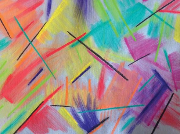 """Kateri Pomeroy,Eclectic Color Zap (detail), 2014, Oil pastel,9"""" x 11"""""""