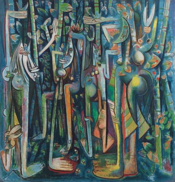 "Wifredo Lam, 1943, The Jungle, Gouache on paper mounted on canvas, 94.25"" x 90.5"". Digital Image © The Museum of Modern Art/Licensed by SCALA / ARS, NY"