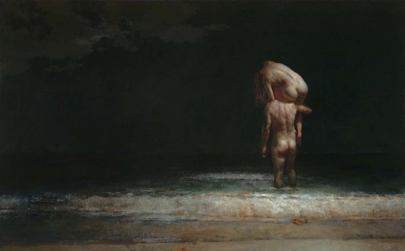 "Night Swimmers, 2014, Oil on linen, 46"" x 74"""