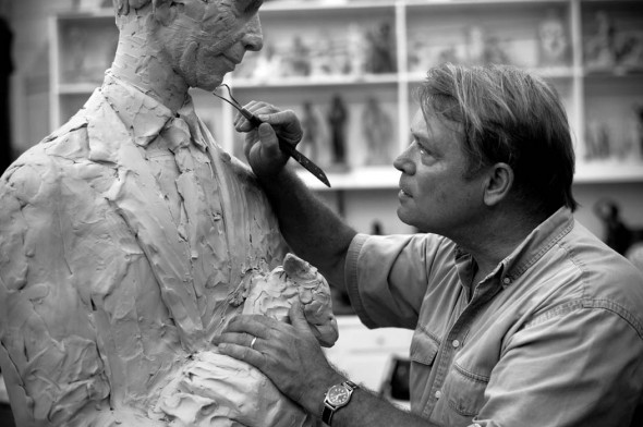 Alan LeQuire sculpting a portrait of Dr. Virgil LeQuire for Vanderbilt Medical Center