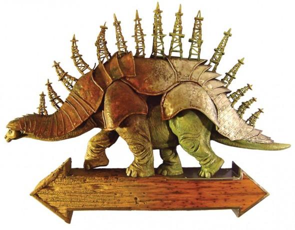 "Petrosaurus, 2013, Basswood, hardwood, metal, 25"" x 34"""