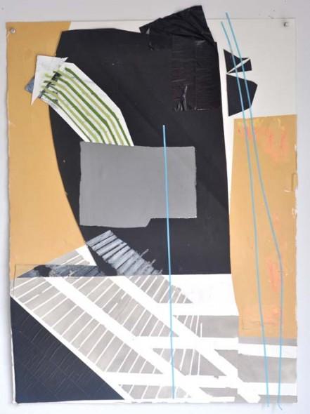 """For Samuel Mockbee, 2014, Acrylic, gouache, tape on paper, 30"""" x 22"""""""