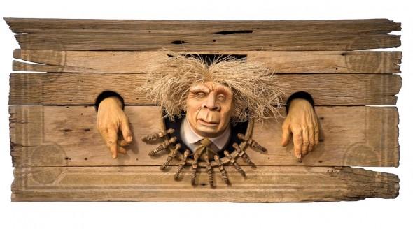"""Petro Man, 2011, Basswood, oak, vine, corn, 20"""" x 43"""""""