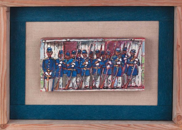 """The Federal Garrison at Fort Negley (detail), 2014, Acrylic and ink on wood, 6"""" x 12"""""""
