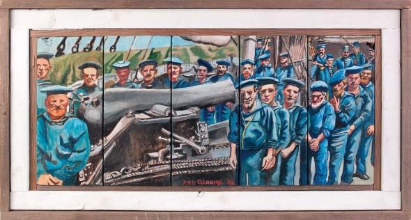 "The Pivot Gun of the Wissachikon and Crew, 2002, Oil on wood, 18"" x 33"""