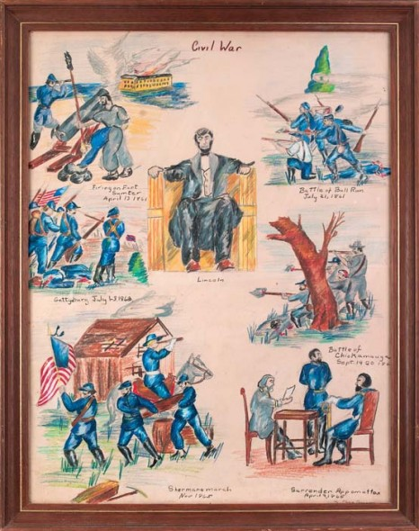 """Civil War by a 12 Year Old Boy, 1949, Colored pencil on paper, 29"""" x 23"""""""