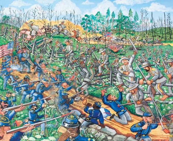 "Skirmish at the Split Rail Fence, 2014, Oil on canvas, 50"" x  60"""