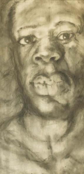 """Benji, 2008, Graphite on wood, 96"""" x 48"""" x 3"""""""