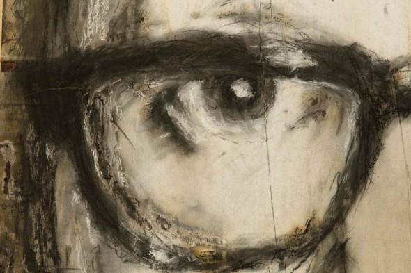 """Lil' Jack, 2013, Charcoal on torched wood, 48"""" x 96"""" x 2"""""""