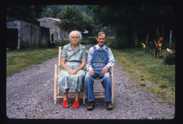Chairmaker Dallas Newberry and his wife, Aline, of Jennings Creek (Macon County) in one of his wagon seats. Dallas was patriarch of the family Newberry & Sons chair shop, which received the Tennessee Folklife Heritage Award in 2009