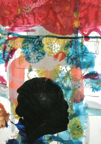 "Smush Series 10, 2013, Illustration board, acrylic, pencil, 7"" x 5"""