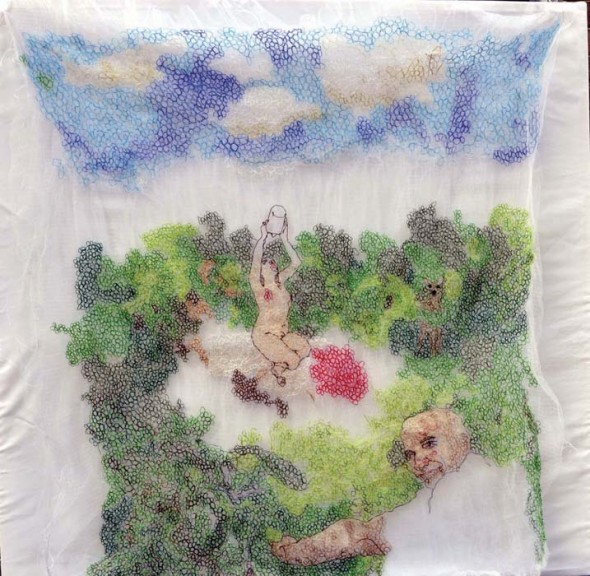 """Susanna and the Elders, 2013, Wool, cotton and silk thread on tulle fabric, 54"""" x 48"""""""