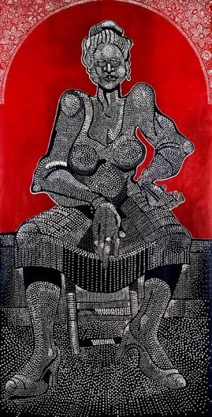 "Ted Jones, Charlotte Street Woman, 1980, Wood block print, 49"" x 26"""