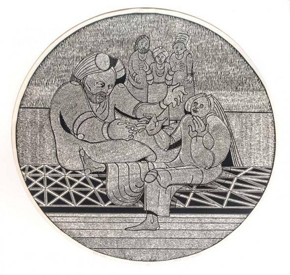 """Arise Maiden, 1995, Block print, 36"""""""