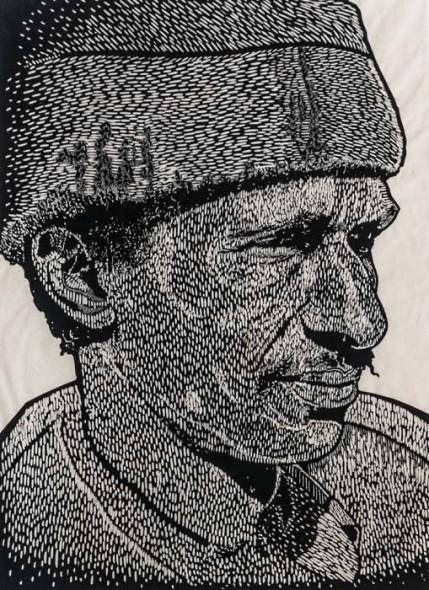 """Self-Portrait, 1982, Block print, 50"""" x 38"""""""
