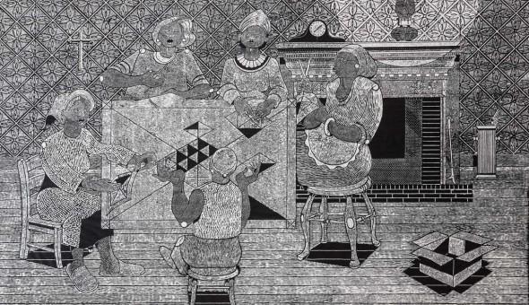 "Social Hour, 1991, Block print, 38"" x 62"""
