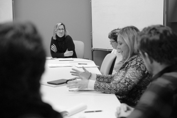 Katie McDougall leads the adult literacy workshop. Photograph by John Guider