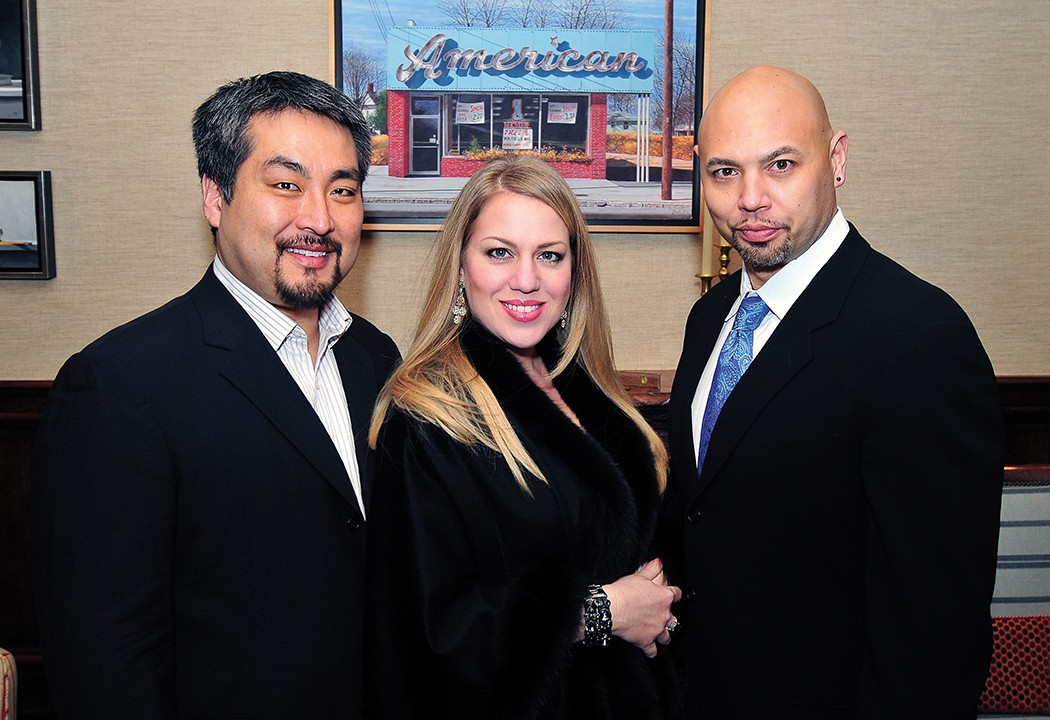 Vocalists Andrew Gangestad, bass; Elizabeth Caballero, soprano; and Keith Miller, bass–baritone. Photograph by Reed Hummell