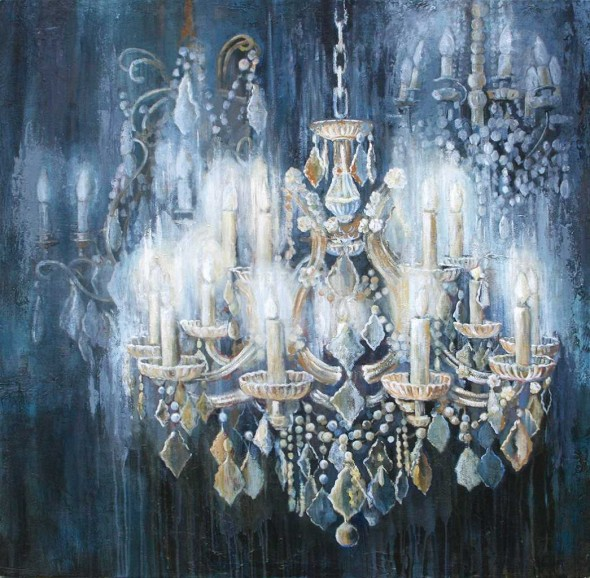 Evening Lights, Acrylic on canvas, 5' x 5'