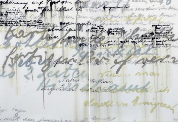 "Untitled 50, 2013, Ink on vellum, Diptych: 35"" x 26"" each"