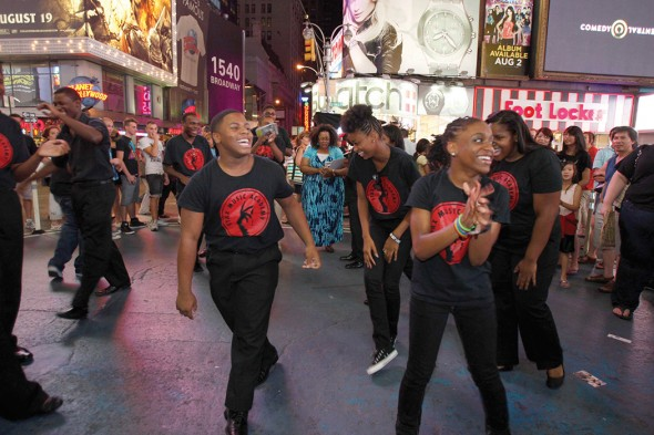 On a 2011 Summer Soul Tour to perform at New York City's Lincoln Center, Stax Music Academy students perform an impromptu number on Broadway, after performing backstage at the famed Shubert Theater for the cast of MEMPHIS, the Tony Award-winning musical. Courtesy of the Soulsville Foundation