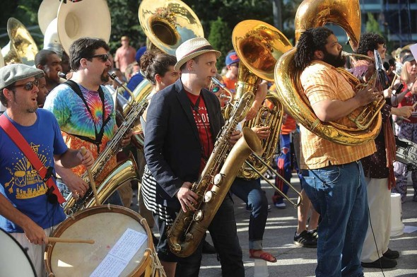 Make Music New York with Red Baraat. Photograph by Brad Barket/Getty Images